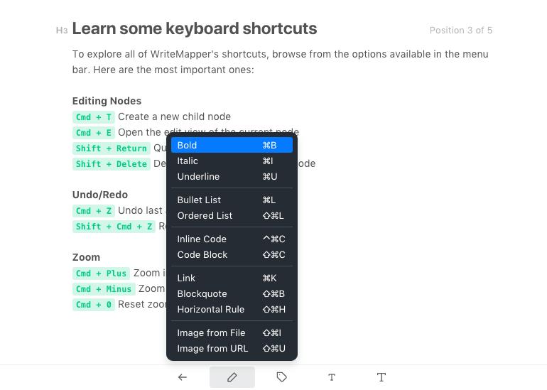 WriteMapper Keyboard Shortcuts