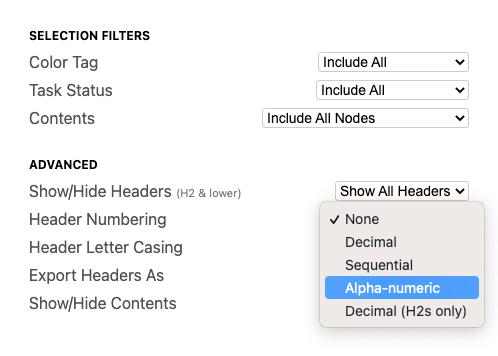 WriteMapper Export Options